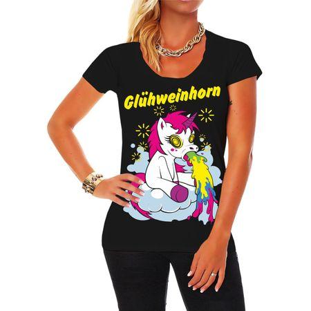 Frauen Shirt Weihnachtsmarkt Glühweinhorn