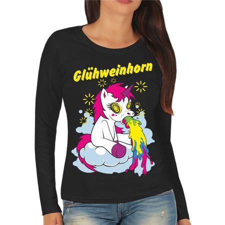 Frauen Longsleeve Weihnachtsmarkt Glühweinhorn