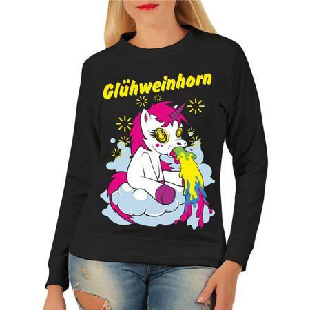 Frauen Sweatshirt Weihnachtsmarkt Glühweinhorn