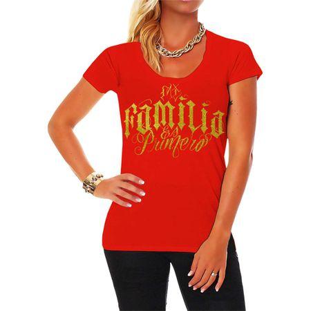 Frauen Shirt Mi Familia es Primero GOLD