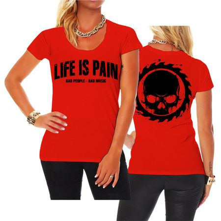 Frauen Shirt Life Is Pain BLACK