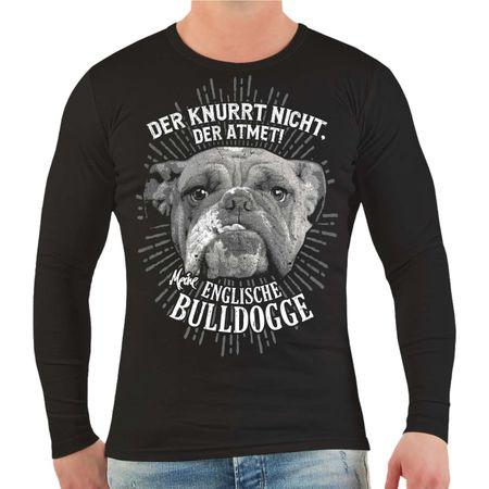 Männer Longsleeve Englische Bulldogge Der knurrt nicht der atmet