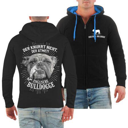 Männer Kapuzenjacke Englische Bulldogge Der knurrt nicht der atmet