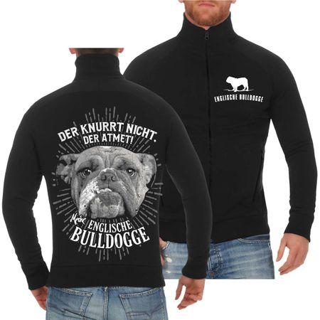 Männer Sweatjacke Englische Bulldogge Der knurrt nicht der atmet