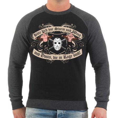 Männer Sweatshirt Hüte dich vor Sturm und Wind und Ossis die in Rage sind