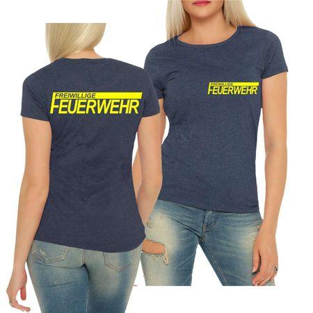 Frauen Shirt FFW Freiwillige Feuerwehr NEONGELBER Druck