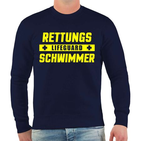 Männer Sweatshirt Rettungsschwimmer Lifeguard NEONGELBER Druck