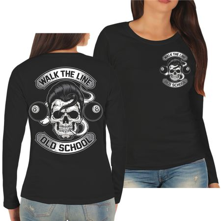 Frauen Longsleeve Rockn Roll Rockabilly Old School