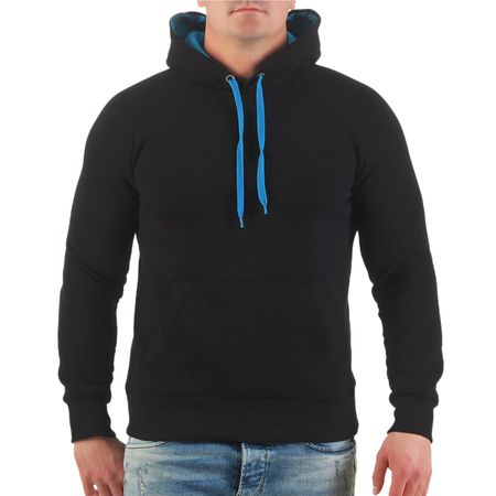 Kapuzenpullover Hoody schwarz mit hellblauer Kapuze und Kordeln Grösse S bis XXXL