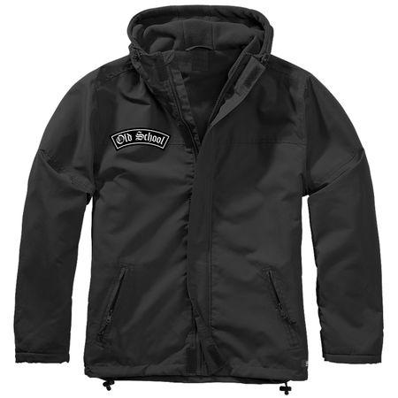 Gefütterter Windbreaker Jacke mit Aufnäher Old School Größe S bis 7XL