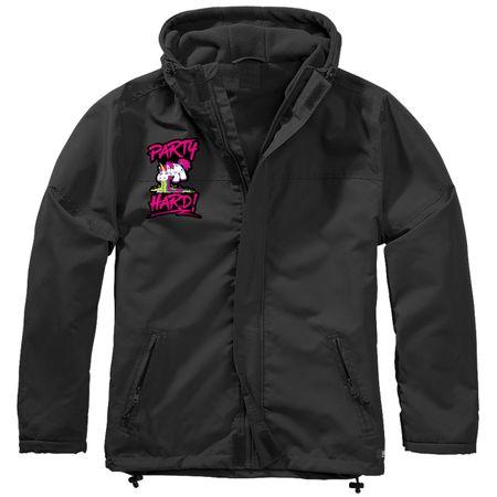 Gefütterter Windbreaker Jacke mit Aufnäher PARTY HARD Größe S bis 7XL