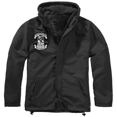 Gefütterter Windbreaker Jacke mit Aufnäher Unterschätze niemals einen alten Mann auf einem Motorrad Größe S bis 7XL