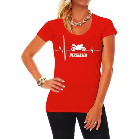 Frauen Shirt Herzrasen Motorrad Fighter