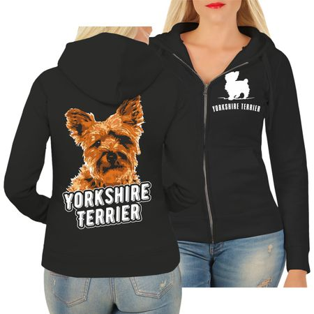 Frauen Kapujacke Yorkshire Terrier Porträt