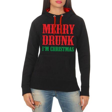 Frauen Kapu Merry Drunk I'm Christmas
