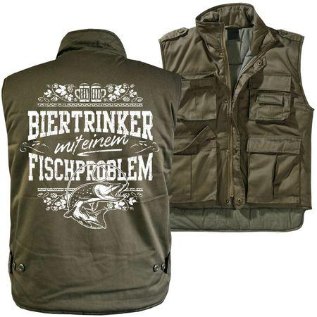 Männer Ranger Weste mit Futter Biertrinker mit einem Fischproblem