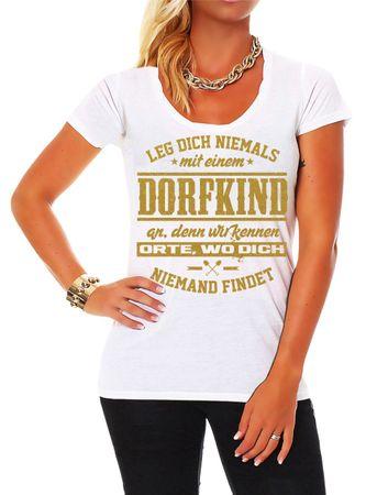Frauen Shirt Dorfkind in GOLD