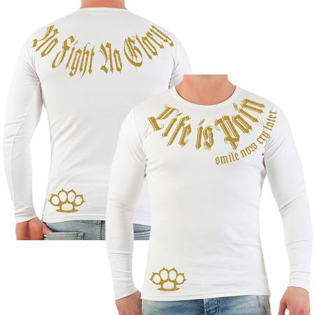 Männer Longsleeve Life is Pain smile now cry later GOLD Serie