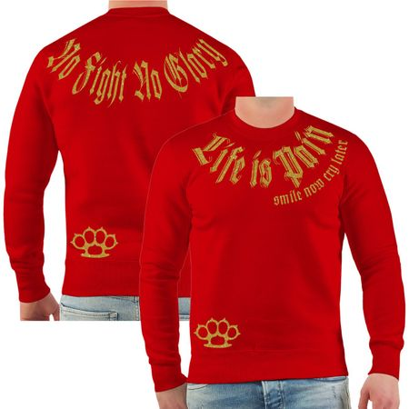 Männer Sweatshirt Life is Pain smile now cry later GOLD Serie