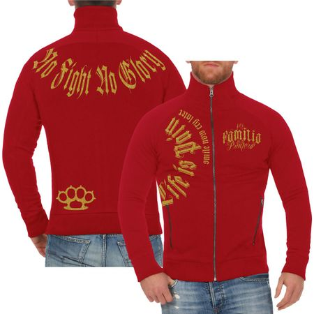 Männer Sweatjacke Life is Pain smile now cry later GOLD Serie