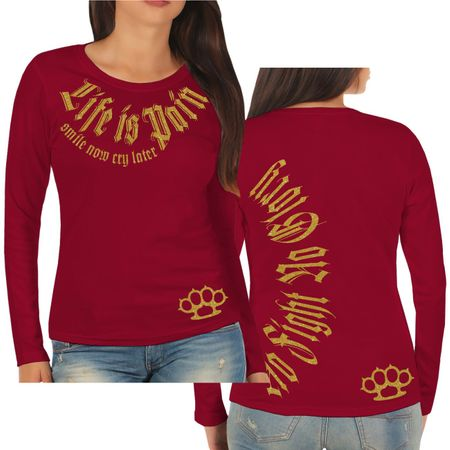Frauen Longsleeve Life is Pain smile now cry later GOLD Serie