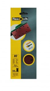 SALE% 10 Flexovit Schleifblätter 93x230mm 8 (6+2) Loch K80 zum Einspannen Made in EU – Bild 1