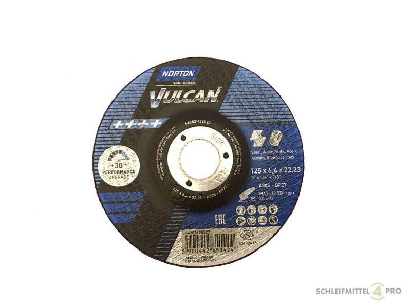 INOX T27 gekröpft Made in EU 10 NORTON Vulcan Schruppscheiben 125x6,4mm Metall