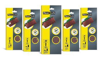 SALE% 6 Flexovit Schleifblätter 93x185mm 8 (6+2) Loch klett K50 - grob - Made in EU – Bild 2