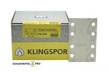 100 Klingspor Schleifblätter 80x133mm 8L K320 PS33BK weiß klett Made in EU – Bild 1