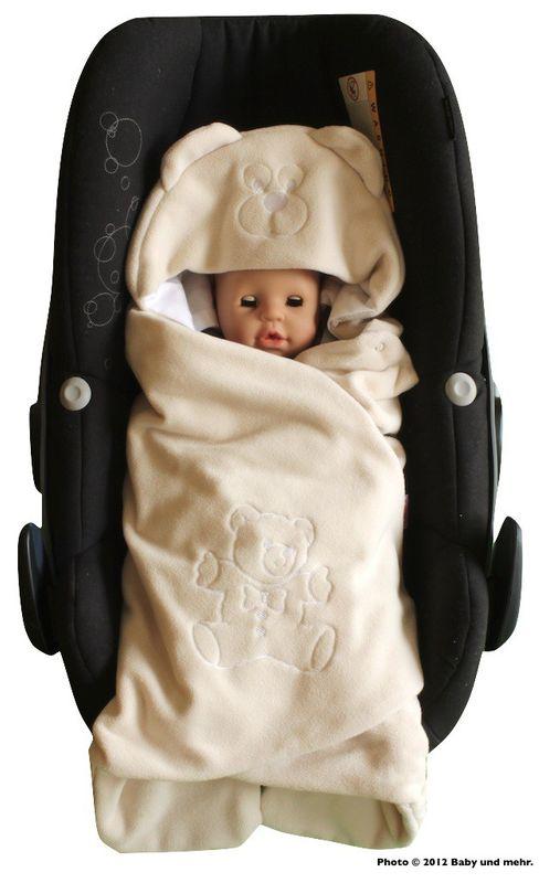 ByBoom® - Baby Einschlagdecke Sommer; außen Fleece, innen 100% Baumwolle; Für Babyschale, Autokindersitz, z.B. für Maxi-Cosi, Römer, für Kinderwagen, Buggy, Babytrage, z.B. Manduca oder Babybett