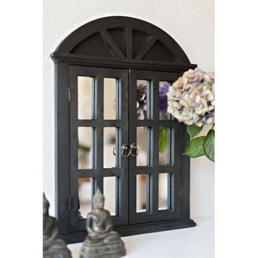 Schwarzer Wandspiegel mit beweglichen Fensterläden im Shabby French Chic Stil – Bild 3