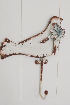 Haken im Shabby chic Landhausstil Vogel Wandhaken in weiß