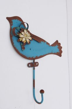 Haken im Shabby chic Landhausstil Vogel Wandhaken in blau