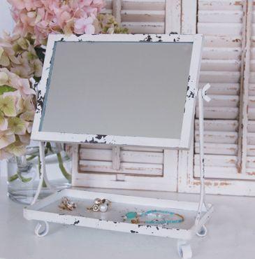 Landhaus Schminkspiegel MARIE im weißen, vinta ge Shabby Chic, Kosmetikspiegel – Bild 1