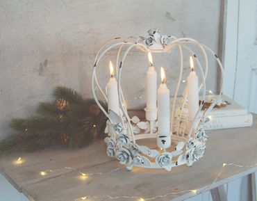 Adventskranz in weiß, Metall, Kerzenkranz,Krone im antique Shabby Chic – Bild 4