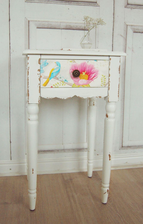 beistelltisch antique shabby chic tisch pip vogel blau. Black Bedroom Furniture Sets. Home Design Ideas