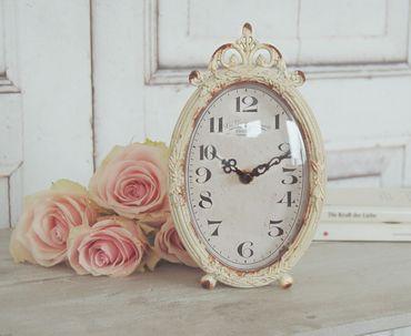 Uhr JOHANNA im antique Shabby Chic Landhaus, Weiße Tischuhr Wecker – Bild 1