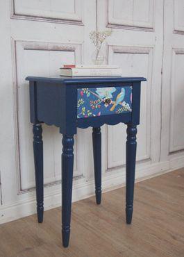 Beistelltisch blau, antique Shabby Chic Tisch, PIP Vogel blau – Bild 1