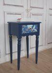 Beistelltisch blau, antique Shabby Chic Tisch, PIP Vogel blau 001