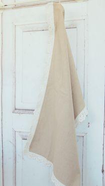 Geschirrhandtuch, Handtuch im Landhaus shabby antique Stil mit Spitze – Bild 2