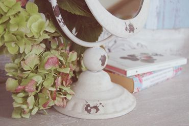 Landhaus Tischspiegel, Spiegel oval im shabby chic antik weiß – Bild 4