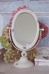 Landhaus Tischspiegel, Spiegel oval im shabby chic antik weiß 001