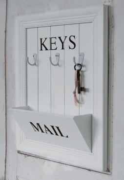 Schlüsselbrett MAIL im weißen Shabby Chic Landhausstil mit drei Haken,2.Wahl