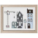 Kinderbild Haus mit Kran, hölzerner Rahmen 001