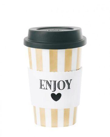 "Reisebecher aus Keramik ""Enjoy"" Coffee to go Becher"