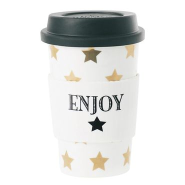 "Reisebecher aus Keramik ""gold stars"" Coffee to go Becher"