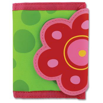 Süße Geldbörse mit Blumen Motiv mit Klettverschluss und inneres Reißverschlus...