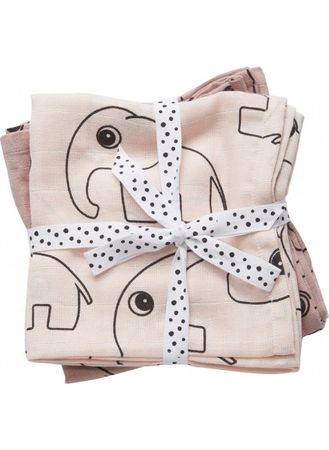 2er Set Swaddle Tücher Contour powder 120x120cm