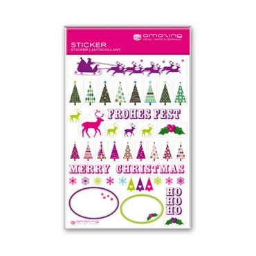 Weihnachtssticker  REINDEERS & XMAS TREES, DIN A6 Karte