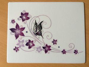 Mousepad Schmetterling auf Blume 24 x 19 cm lila/weiß